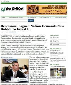 Onion News talks of possible hot investments to come.